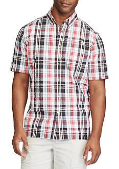 Chaps Short Sleeve Plaid Seersucker Performance Shirt