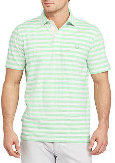 Chaps Short Sleeve Striped Jersey Polo Shirt