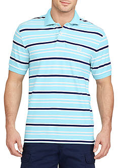 Chaps Short Sleeve Striped Stretch Mesh Polo Shirt