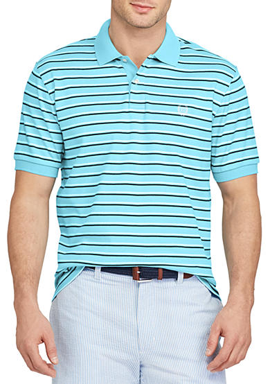 Chaps Short Sleeve Striped Cotton Interlock Polo Shirt