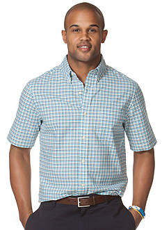 Chaps Big & Tall Wades Short-Sleeved Gingham Oxford Shirt