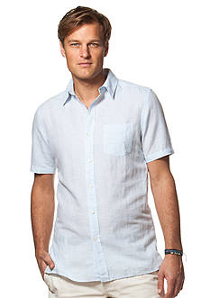 Chaps Big & Tall Short-Sleeve Linen-Cotton Shirt