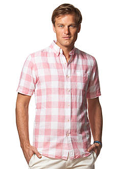 Chaps Big & Tall Short-Sleeve Checked Linen-Cotton Shirt