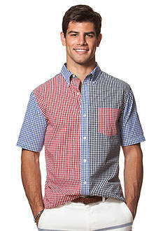 Chaps Big & Tall Short-Sleeve Color-Blocked Checked Shirt