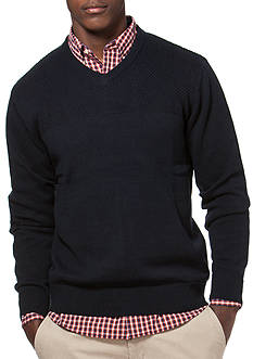 Chaps Big & Tall Combed Cotton V-Neck Sweater