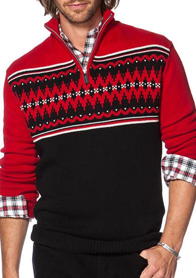 Chaps big tall fair isle mock neck sweater belk for Big and tall mock turtleneck shirt