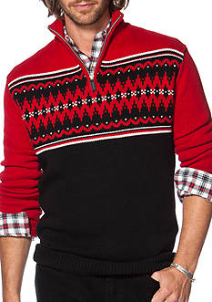 Chaps Big & Tall Fair Isle Mock Neck Sweater