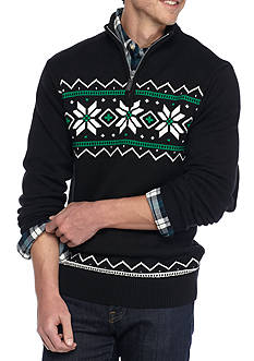 Chaps Big & Tall Patterned Half-Zip Sweater