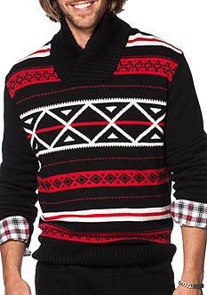 Chaps Big & Tall Patterned Shawl Sweater