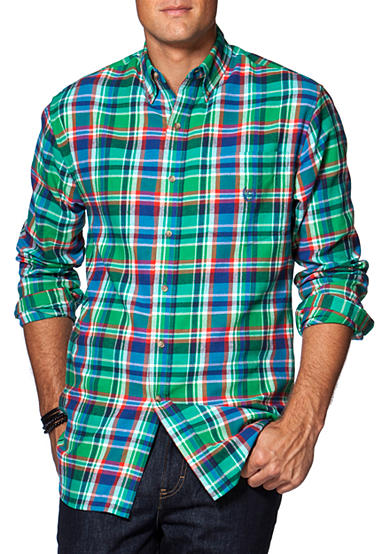 Chaps big tall plaid flannel shirt belk for Large tall flannel shirts