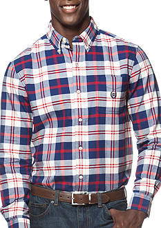 Chaps Big & Tall Plaid Oxford Shirt