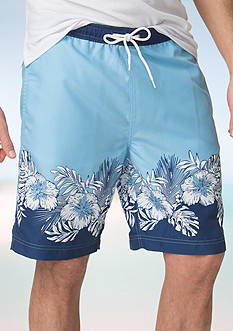 Chaps Big & Tall Tropical-Print Swim Trunks