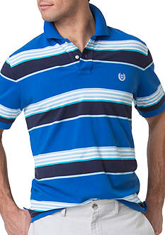 Chaps Big & Tall Striped Stretch-Pique Polo Shirt