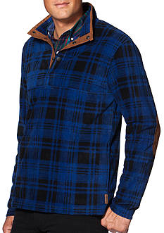 Chaps Big & Tall Plaid Fleece Pullover