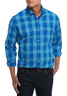 Chaps Big & Tall Checked Stretch-Poplin Shirt