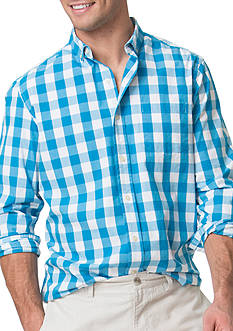 Chaps Big & Tall Buffalo Check Stretch-Poplin Shirt