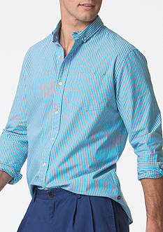 Chaps Big & Tall Striped Stretch-Poplin Shirt