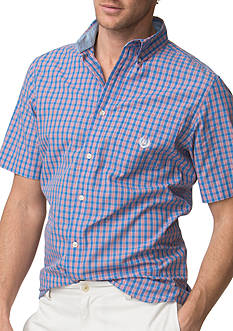 Chaps Big & Tall Short-Sleeve Checked Poplin Shirt