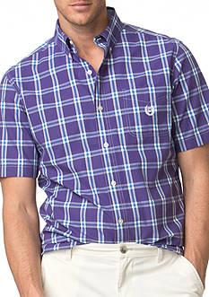 Chaps Big & Tall Short-Sleeve Plaid Poplin Shirt