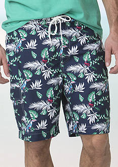 Chaps Big & Tall Tropical-Print Board Shorts