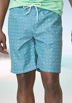 Chaps Big & Tall Printed Swim Trunks