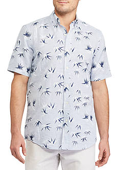 Chaps Big & Tall Short Sleeve Palm Print Linen Shirt