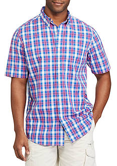 Chaps Big & Tall Short Sleeve Plaid Stretch Cotton Shirt
