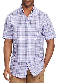 Chaps Big & Tall Short Sleeve Plaid Linen Shirt