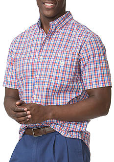 Chaps Big & Tall Short-Sleeve Plaid Poplin Shirt
