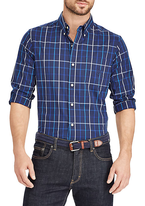 Chaps long sleeve woven plaid button down shirt belk for Chaps button down shirts