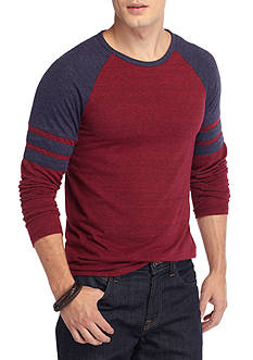 Red Camel Long Sleeve Athletic Crew Neck Raglan T-Shirt