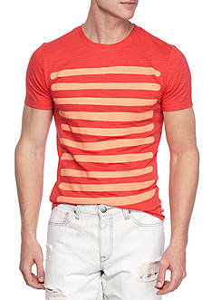 Red Camel® Short Sleeve Placed Stripe Slub Tee