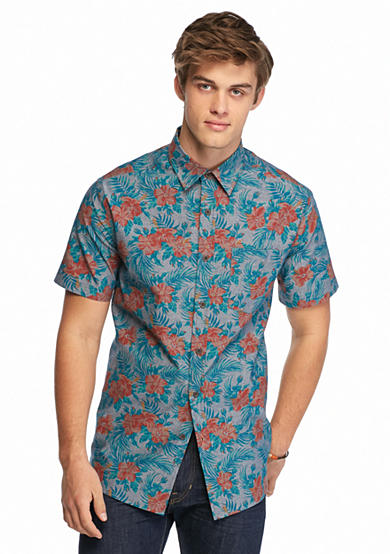 Chip pepper california short sleeve floral chambray shirt for Chip and pepper t shirts