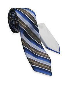 Steve Harvey® Extra Long Textured Stripe Tie and Pocket Square Set