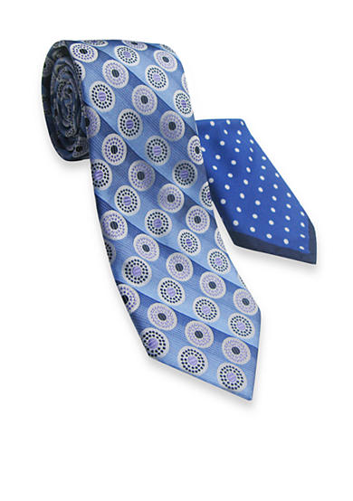 Steve Harvey® Extra Long Circle Stripe Tie and Pocket Square Set