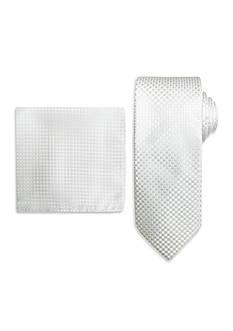 Steve Harvey Solid Tie & Neat Pocket Square