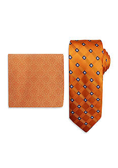Steve Harvey Satin Grid Tie & Brocade Pocket Square