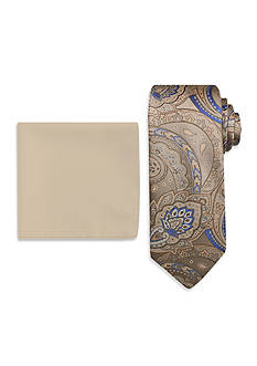 Steve Harvey® Paisley Tie and Solid Pocket Square