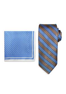 Steve Harvey Satin Striped Tie and Dot Pocket Square