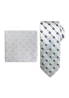 Steve Harvey Extra Long Satin Grid Tie and Brocade Pocket Square