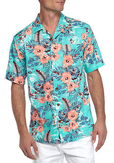 Saddlebred® Big & Tall Short Sleeve Hibiscus Hula Camp Shirt