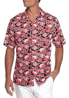 Saddlebred Short Sleeve Fish Print Camp Shirt