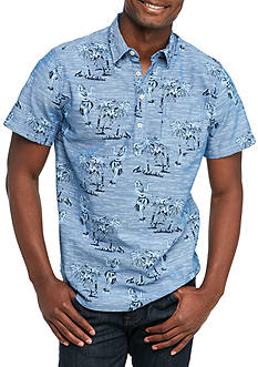 Red Camel Short Sleeve Aloha Print Popover Shirt