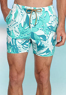 Red Camel Palm Print Volley Shorts