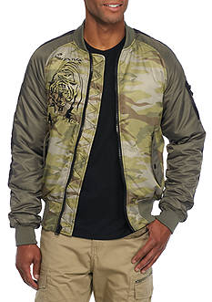 Red Camel Tiger Graphic Bomber Jacket