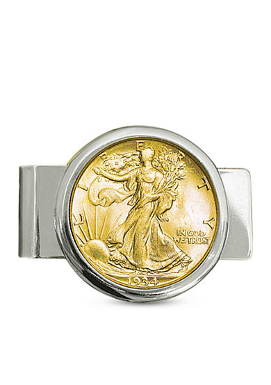 American Coin Treasures Silvertone Money Clip with Silver Walking Liverty Half Dollar Layered In Pure Gold