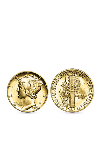 American Coin Treasures Gold Layered Mercury Dime Cufflinks