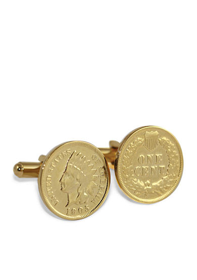 American Coin Treasures 24K Gold Layered Indian Head Coin Cufflinks
