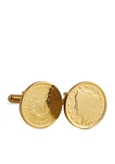 American Coin Treasures Gold Layered Liberty Nickel Cufflinks