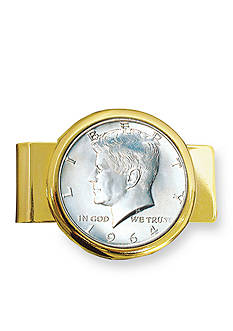American Coin Treasures 1964 First Year of Issue Silver JFK Half Dollar Gold Tone Money Clip